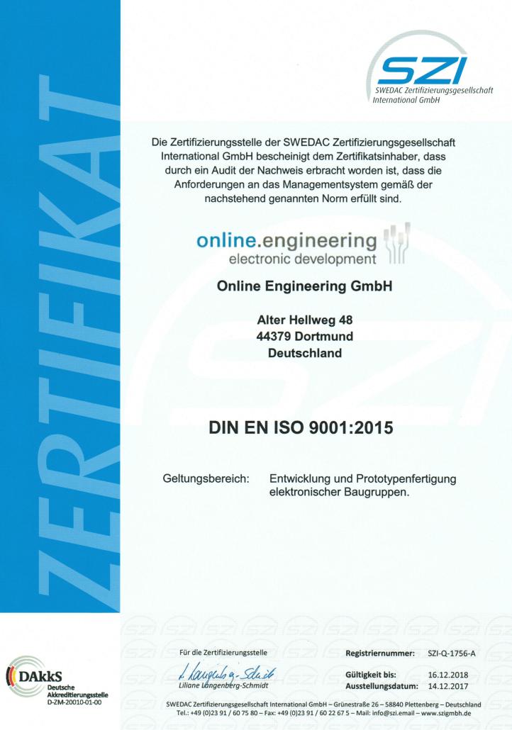 SZI-Q-1756-A Zertifikat 9001